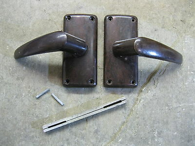 Pr Original 1930's Art Deco Bakelite Walnut Door Lever Handles & Backplates 0211
