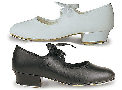 Roch Valley Childs & Adult Unisex LOW HEEL TAP SHOES Black or White PU Leather