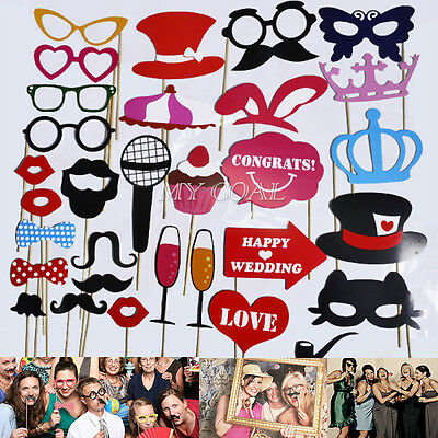 31pcs Photo Booth Props On A Stick Mustache Lip Colorful Wedding Hen Party Favor