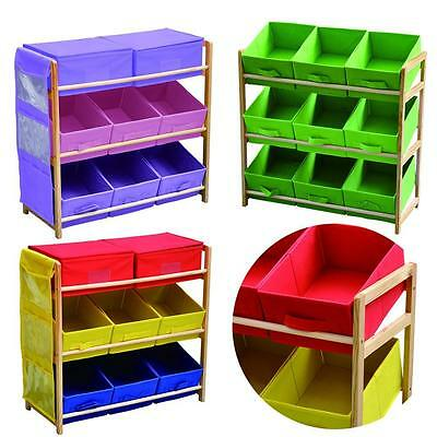 3 Tier Storage Shelf Unit Kids/Childrens Bedroom with 8 Canvas Drawers/Boxes UK