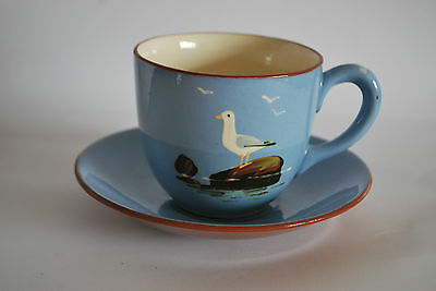 Devon Pottery - Large Breakfast Cup and Saucer - Dartmouth Pottery Seagull #121