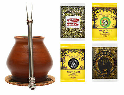 Yerba mate set with 4x50g and necessary accessories FULLY HANDMADE CLAY VESSEL