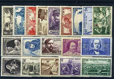 France Annee Complete 1940 Neuf ** Sans Charniere Cote 206€
