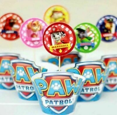 24 Pcs Paw Patrol Cupcake Toppers & Wrappers / Party Supplies/ Marshall