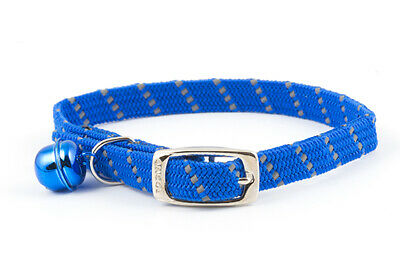 Ancol Reflective Softweave Cat Collar Blue Elasticated Safety Release Clip