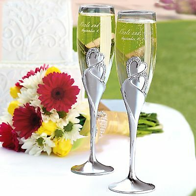 Sparkling Love Double Heart Wedding Champagne Toasting Flutes Pair