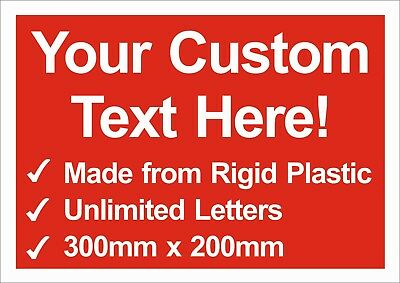 Personalised Bespoke sign, Advertising/For Sale/Warning No Parking Rigid plastic