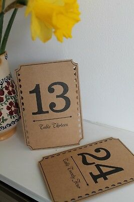 Kraft TABLE NUMBERS 1 -12 freestanding vintage rustic wedding party decoration