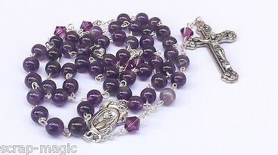 Amethyst and Swarovski Crystal Rosary Beads
