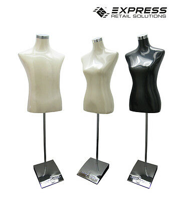 Male & Female Tailor Dummy With Chrome Stand Black & Cream Adjustable Height