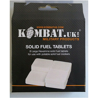 Kombat 8 Large Hexamine Solid Fuel Tablets Camping Cooking Outdoor Survival