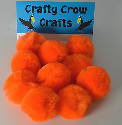 10 x LARGE ORANGE 50mm POM POMS