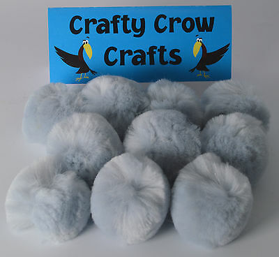 10 x LARGE GREY 50mm POM POMS