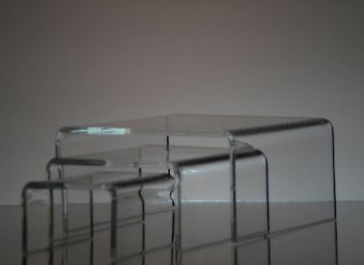 Set of 3 Clear acrylic display riser  2x2x1.250 3x3x1.5 4x4x2 wholesale