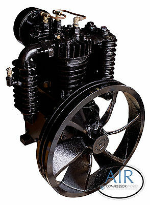 5 HP or 7.5 HP Industrial Air Compressor Pump, two stage, 175 PSI w/ Flywheel