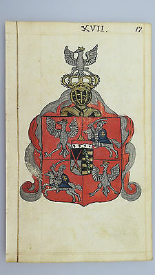 "18th. Century: A Wonderful original drawing Coat of Arms ""Royal Poland""!"