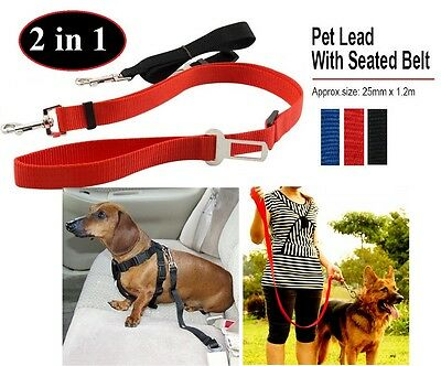 Puppy Dog Strong Lead Leash Harness & Car Safe Safety Seat Belt Adjustable Clip