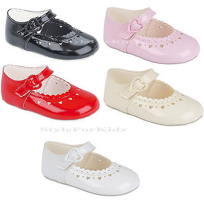 Baby Girls Pram Shoes Pink,White,Ivory,Red,Black Patent Christening / Party
