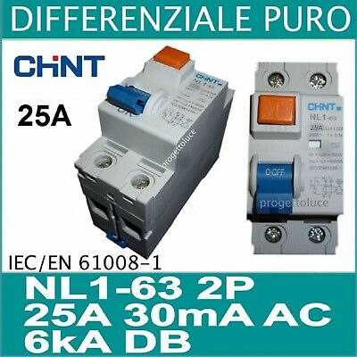 Chint SALVAVITA differenziale puro 2 x 25A 30ma  AC 2 moduli din chint 61211