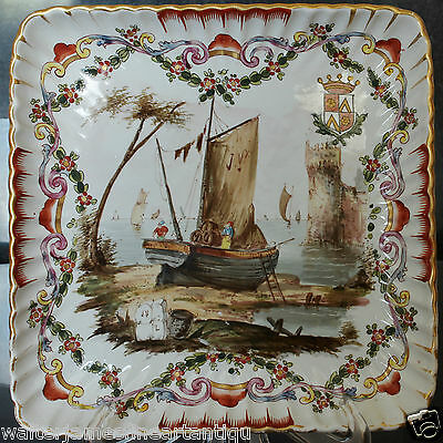 Antique French Faience Hand Painted Armorial Square Dish, Marked LILLE 1767