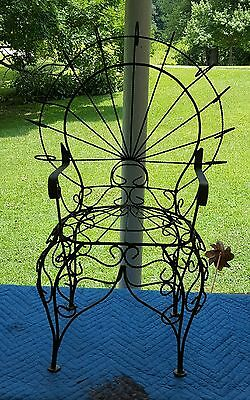 Vintage Estate Child's Wrought Iron Peacock Fanback Chair