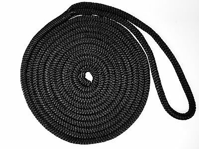 10.7m x 12mm Mooring Rope, Dock Line Black Polyester-Nylon Core VERY STRONG