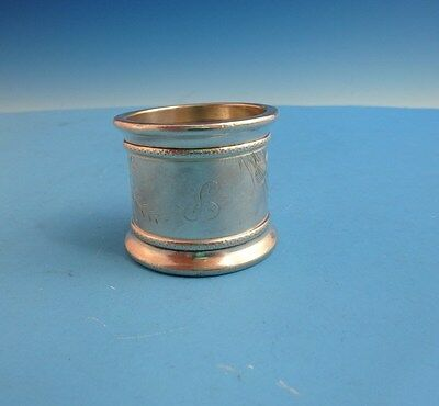 Antique Silver Plate Victorian Wide Napkin Ring with Bird & Plants (2824)