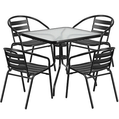 31.5'' Sqaure Indoor-Outdoor Restaurant Table Set with 4 Black Aluminum Chairs