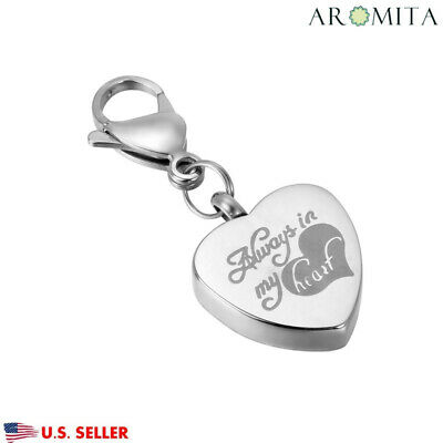 New Always in My Heart Cremation Jewelry Keepsake Memorial Urn Key Chain Clip