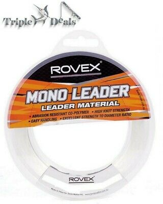 1 x 100m Spool of Rovex Monofilament Fishing Leader - Clear Mono Leader Line