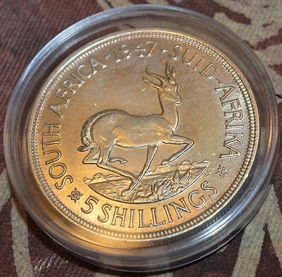 South Africa PROOF 1947 Silver Five Shillings Crown MINTAGE 5 600