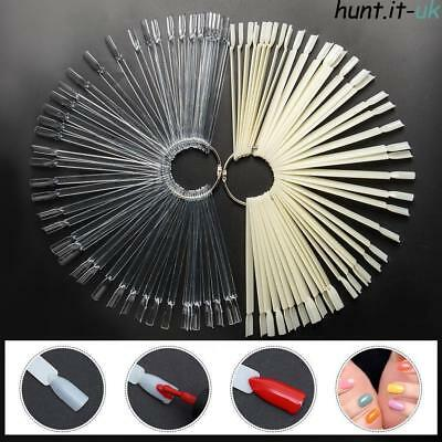 50 Nail Art Display Sticks Clear Tips & Ring Fan Wheel Polish Practice Display