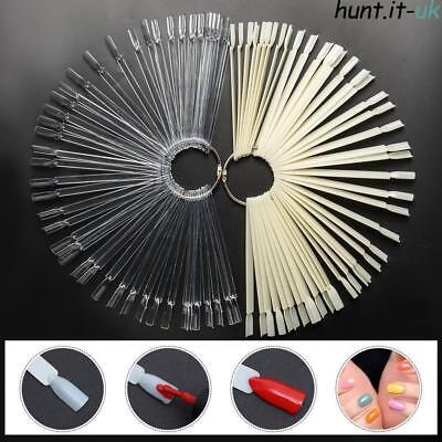 50Pcs False Nail Art Display Sticks Clear Tips & Ring Fan Wheel Polish Display