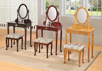 Queen Anne Style Vanity Makeup Table Oval Mirror W Padded