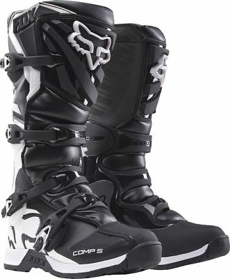 Fox Racing NEW 2017 Youth Mx Comp 5 Black White Motocross Dirt Bike Kids Boots