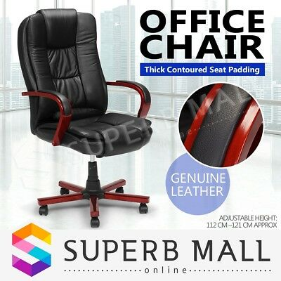 Genuine Leather High Back Rolling Executive Computer Office Chair Armrests Black