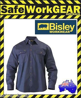 BISLEY WORKWEAR - NAVY Cotton Drill Work Shirt Safety - Long Sleeve BS6433