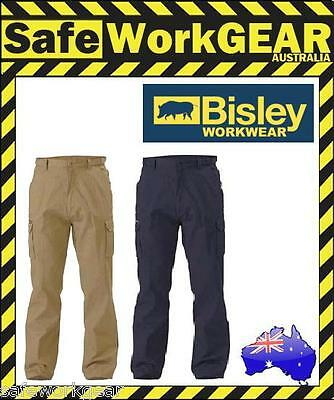 Bisley Workwear 8 Pocket Cargo Cotton Drill Work Pants NAVY or KHAKI BPC6007