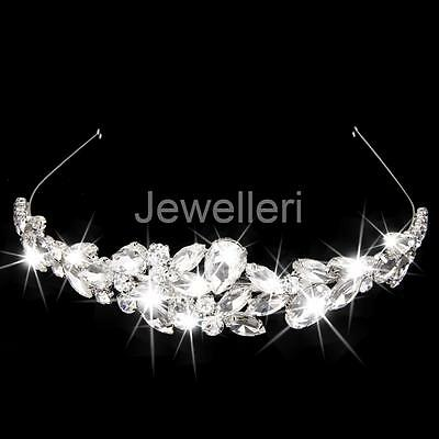 Silver Wedding Party Tiara Headband Crystal Crown Pageant Hair Band Jewelry