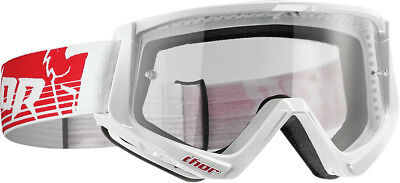 Thor NEW Mx Conquer White Red Clear Lens Motocross Dirt Bike Goggles