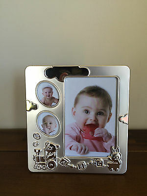 Unisex Baby 3 Photo Collage Silver Frame Teddy Bear Train