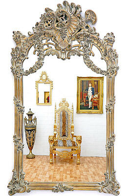 grand miroir baroque 240x140cm cadre en bois patine rococo. Black Bedroom Furniture Sets. Home Design Ideas