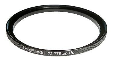 FotoPanda 72mm to 77mm 72 77 Knurled Aluminium Step Up Filter Ring Adapter - NEW