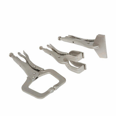 3PC Welding Clamps Plier Set C Clamp Mole Vice Grip Locking Pliers Sheet Metal