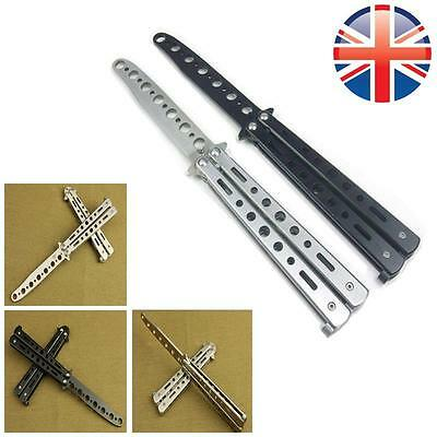 *UK Seller* Stainless Steel Butterfly Knife Balisong Practice Tool Toy Blunt