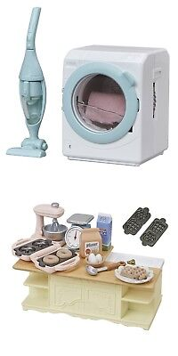 2 Sylvanian Families Sets - Island Kitchen & Washing Machine with Vacuum Cleaner
