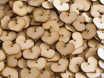 Wood Disk 2 Holes Birthday Event Calendar Heart 3mm Thick 20mm Height