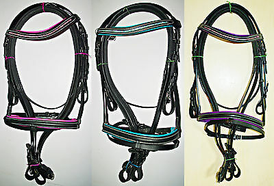 Black Leather Padded Bridle with Diamante Detail,Rubber Reins & Flash.