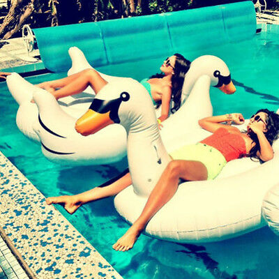 Summer Sea Swimming Pool Kids Giant Rideable Swan Inflatable Float Toy Raft