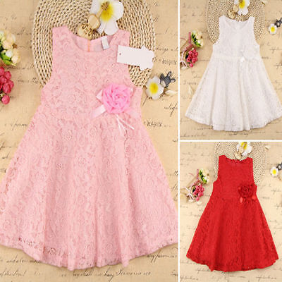 Sweet Girls Clothes Full Lace Dress Kids Baby Floral Princess Party Dress 1-7Y